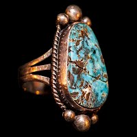 Vintage Silver and Turquoise Handcrafted Ring