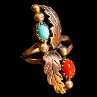 Vintage Silver, Coral and Turquoise Handcrafted Ring