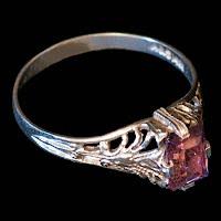Antique Baby Ring, 14K White gold, purple stone