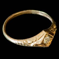 Antique Baby Ring, 14K gold with diamond