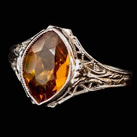 Antique Filagree Ring with Amber Stone 10K white gold