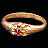 Antique Baby Ring with Ruby 10K gold