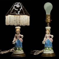 Antique Figural Porcelain Boudoir Lamp with beaded pierced metal shade