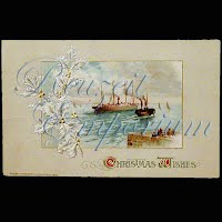 Antique Embossed Christmas Post Card, Christmas Wishes