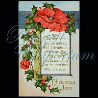 Antique Embossed Christmas Post Card, Christmas Joys, Whitney made Worcester Mass