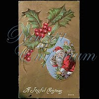 Antique Embossed Christmas Post Card, A Joyful Christmas
