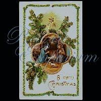 Antique Religious Christmas Post Card, A Merry Christmas