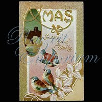 Antique 1910 Embossed Christmas Post Card, Xmas Sincere Good Wishes