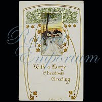 Antique 1909 Embossed Christmas Post Card, With a hearty Christmas