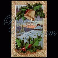 Antique 1909 Embossed Christmas Post Card, Christmas Greetings