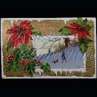 Antique 1911 Embossed Christmas Post Card, Christmas Greetings