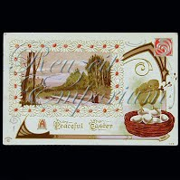Antique Embossed 1911 Easter Postcard, A Peaceful Easter