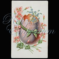 Antique Embossed German made Easter Post Card, Easter Greeting