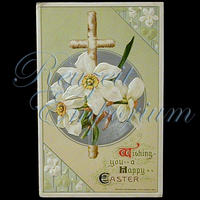 antique 1911 Easter Winsch Postcard, Wishing You a Happy Easter