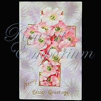 Antique 1913 Embossed Easter Post Card, Hearty Easter Greeting