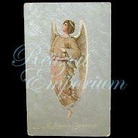 Antique 1910 Silver Foil Angel Postcard, A Joyous Eastertide
