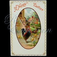 Antique 1910 Easter gel Postcard, A Happy Easter