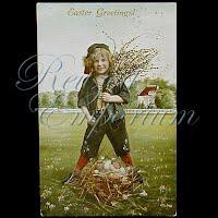 Antique 1914 Easter gel Postcard, Easter Greetings