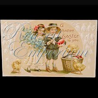 Antique Easter Embossed Postcard, A Happy Easter to you