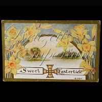 Antique 1910 Embossed Easter Postcard, Sweet Eastertide