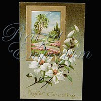 Antique 1910 Easter Watercolor Postcard, Easter Greetings