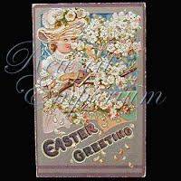 Antique 1909 Embossed Easter Postcard, Easter Greetings