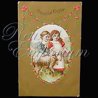 Antique 1909 Embossed Easter Postcard, Peaceful Easter