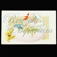 Antique Easter with Children Postcard, A Happy Easter
