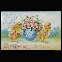 Antique 1912 Easter gel with Chicks Postcard, Easter Greetings