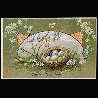 Antique 1909 Easter Postcard, Easter Greetings