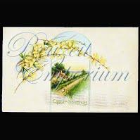 Antique 1915 Easter Watercolor Postcard, Easter Greetings