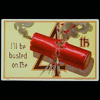 1911 Antique 4th of July Postcard, I'll Be busted on the 4th