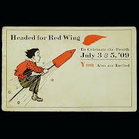 1912 Antique 4th of July Postcard, Headed for Red Wing to Celebrate 4th of July