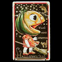 1914 Embossed Antique Postcard, Halloween