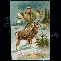 Antique Gel New Year Post Card