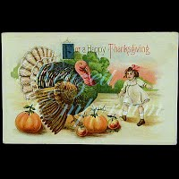 Antique 1914 Embossed Thanksgiving Postcard, For A Happy Thanksgiving
