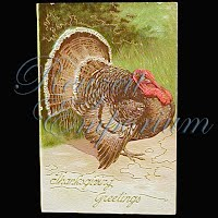 Antique 1908 Embossed Thanksgiving Post Card, Thanksgiving Greetings