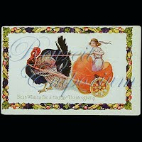 Antique Embossed Thanksgiving Post Card, Best Wishes for a Happy Thanksgiving