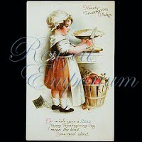 Antique 1924 Thanksgiving Post Card, Hearty Thanksgiving Wishes