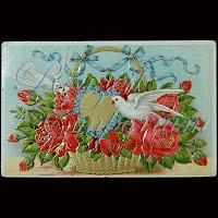Antique 1910 Embossed Valentine Post Card, Antique 1910 Embossed Valentine PostCard Doves and Flowers