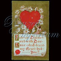 Antique Embossed Valentine Post Card, Fair Daisies wet with Dew