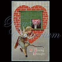 Antique Embossed Valentine Post Card, Antique Embossed Valentine PostCard, A Loving Thought