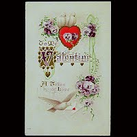 Antique Embossed Valentine Post Card, Antique Embossed Valentine PostCard, To My Valentine, A Token of Love