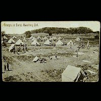 Antique Real Photo Military Technor Postcard, Troops in Camp Awaiting Call