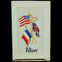 Antique WWI Swiss Embroidery Postcard, Allies