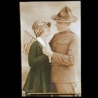 Antique Postcard Handcolored, WWI Soldier and Girl