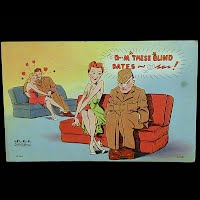 Antique Postcard, Military Blind Date