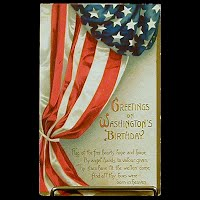 Antique Postcard, Greeting on Washington's Birthday