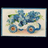Embossed Antique Auto Postcard, Forget-Me-Nots and Lilies of the Valley Car