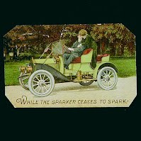 Antique Auto Postcard, While the Sparker Ceases to Spark